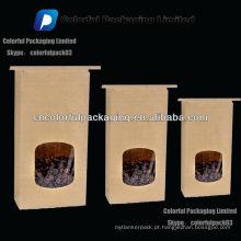 Saco de café do papel de embalagem 250g / saco de café com janela de sentido único
