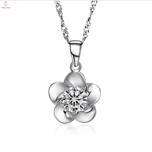 Personalized 925 Silver Chain Flower Cz Pendant Necklace