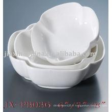 Service de table en porcelaine blanche en forme de fleur JX-PB036