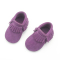 Lila Suede Leather Safe Shoes Partihandel Baby Moccasins