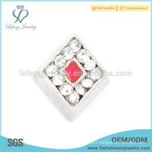 Silver crystal charms,silver zinc alloy floating charm jewelry