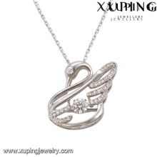Necklace-00075 Fashion Elegant CZ Diamond Rhodium animal en forma de cisne de joyería de imitación colgante de collar