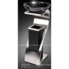 Stainless Steel Standing Colored Lobby Trash Bin with Ashtray