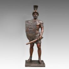 Gran Figura Estatua Espada Guerrero Bronce Escultura Tpls-095
