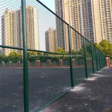 Clôture à mailles de chaîne en PVC vert pour terrain de sport