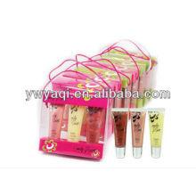 3 peças Lip Gloss Set no pacote do presente PP