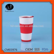 Tasse de voyage en céramique personnalisée, vasque en céramique, tasses à café avec manche en silicone, tasse en céramique avec couvercle en caoutchouc et bande