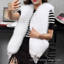 Exquisite breathable real fox fur vest girl