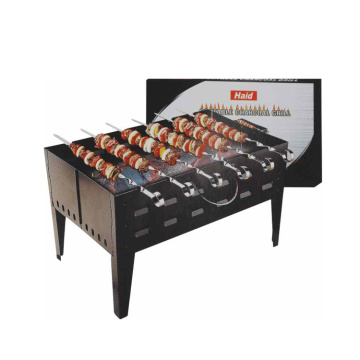 accessorio barbecue con griglia inox 6 spiedini