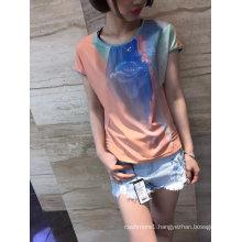 Summer Fashion Latest Printing Gradients Flower Ladies T-Shirt Clothes