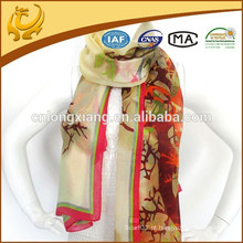 Design de moda muçulmano Hijab 100% lenço de xáli de seda, cor sólida de óculos de chifre de alta qualidade