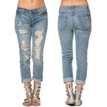 Custom Girl 3/4 jeans rasgados de moda de algodón
