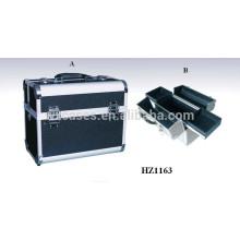 casos com 2 bandejas dentro de sacos de cosmético profissional alumínio preto