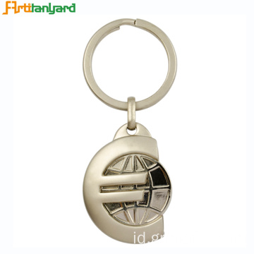 Custom Metal Token Trolley Coin Holder Keychain