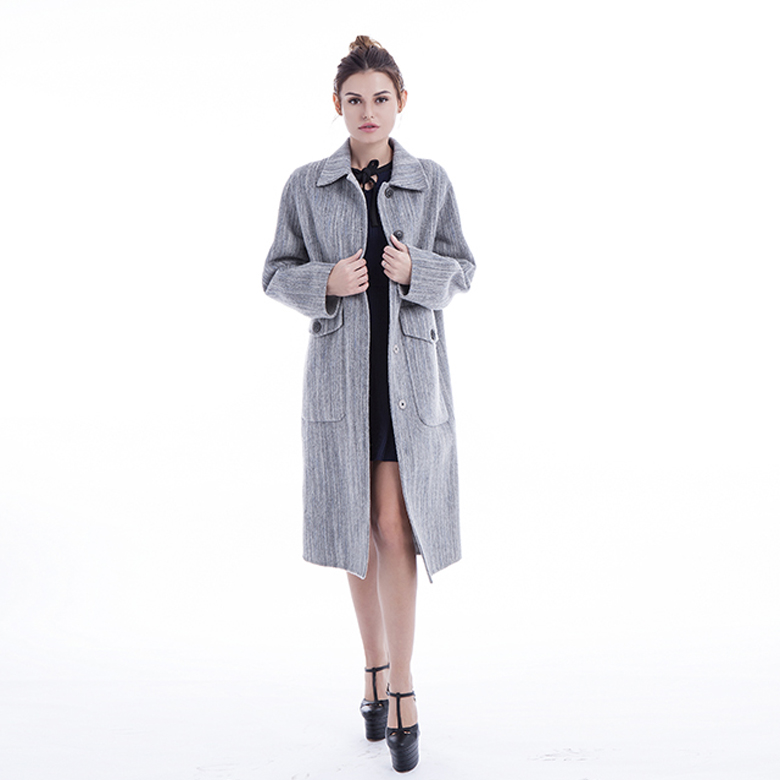 Ladies Classic Gray Cashmere Overcoat