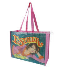 Reusable folding customized printed tote shopping bags with logos
