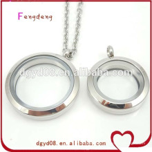 2015 newest design screw and magnatic round stainless steel floating locket necklace