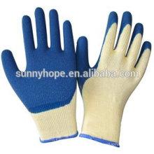 Luvas revestidas com azul de látex com forro de algodão