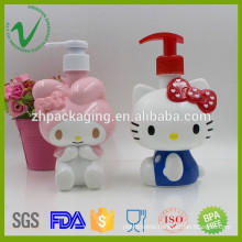 Customized cartoon design 400ml empty lotion pump plastic bottle for cosmetic