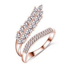 Boutique forma de hoja cúbicos Zirconia CZ mujeres traje anillo (CRI1041)