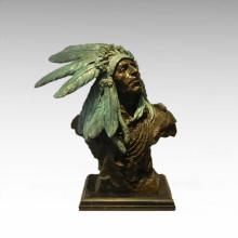 Busts Brass Statue Feather Man Decoration Bronze Sculpture Tpy-474