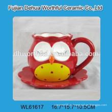 Превосходная керамическая чашка с блюдцем с формой совы
