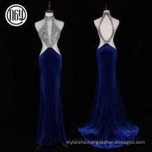 Luxury popular backless halter neck dress women evening patterns