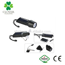 Multi-function mobile phone and USB charger high power rechargeable 3 led solar flashlight