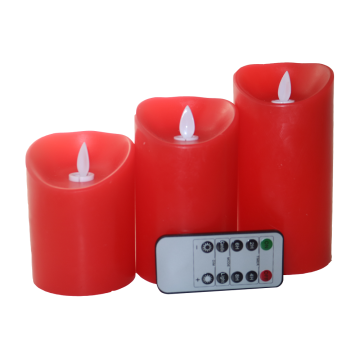 Baterai Powered LED Slim Pillar Wax Candles