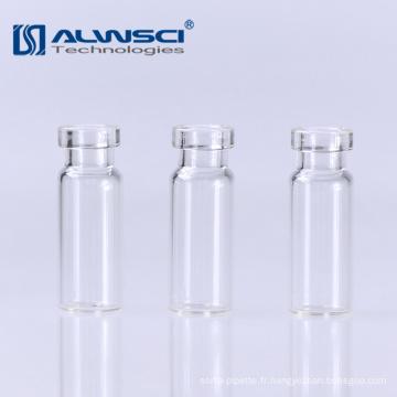 Flacon de 15 mm de verre transparent hplc gc crimp autosampler 1.8ml pour analyse de laboratoire