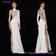 Ein Langarm Elegantes Broside High Split Dinner Abendkleid