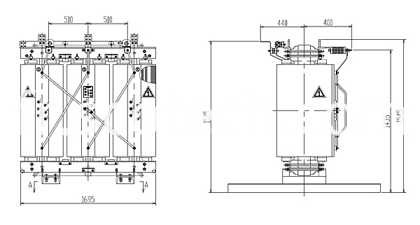 1500KVA dry type transformer drawing