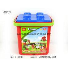 Puzzle Toy Farm Bloque de construcción con cubo de plástico