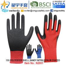 13G Полиэфирная оболочка Сэнди-нитриловые ламинированные перчатки (N2001) с CE, En388, En420, рабочие перчатки