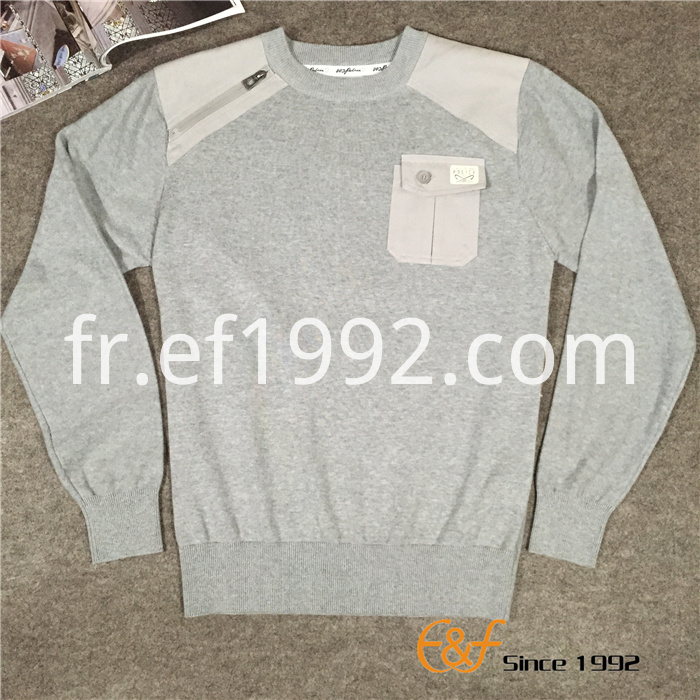 Cotton Men Sweater with Canvas Patch and Pocket