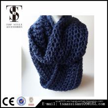 Bufanda azul de las muchachas del infinito del color, bufanda de acrílico hecha punto, bufanda fábrica China