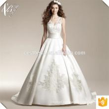 Venda quente vestido de noiva de cetim de organza em forma de vestido de noiva com vestido longo