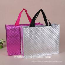 Saco superior não tecido de alta qualidade laminado de dobramento da bolsa de compras da categoria