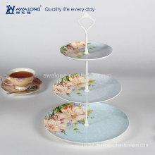 Western Design Daily verwendet Keramik 3 Tier Porzellan Dessert Platte, Keramik Runde Kuchen Platte