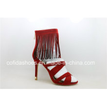 Popular Sexy High Heels Senhora vermelha Strap Sandal
