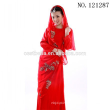 Vestido de noiva muçulmano vermelho de cetim de manga comprida de renda 2016