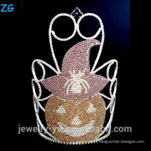 Coloreado Cristal Corona Calabazas de Halloween, Corona Grande Halloween Pageant