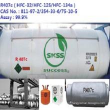 Porto não refilable do cilindro 1000g do gás hfc-R407C do líquido refrigerante do OEM para o mercado de Indonésia
