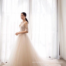 Sexy Lace Applique Bridal Gown Wedding Dress