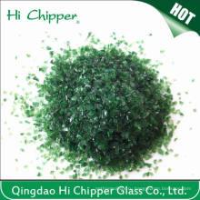 Щебень из темного зеленого стекла