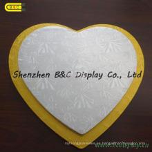 MDF con los tambores de la torta de la forma del corazón del papel de la hoja, Cake Boards con SGS (B & C-K072)