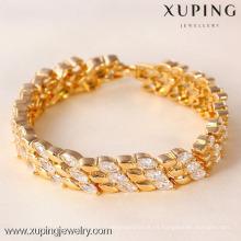 71332 Pulsera ancha chapada en oro de Xuping, Pulsera mixta de oro y cristal de moda