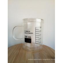 Haonai 350ml pyrex glass mug measuring mug double wall glass mug for laboratory