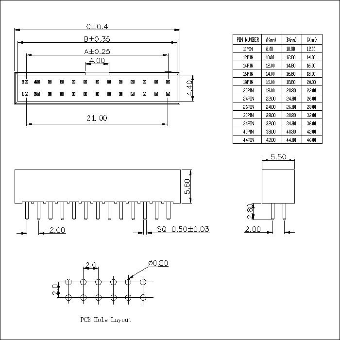 BHCS07 2.00mm Box Header Short Body 180° H=5.6MM
