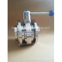 Sanitary Stainless Steel Manual Welded 3 Piece Butterfly Valve
